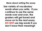 more about writing the essay