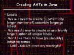 creating aats in java