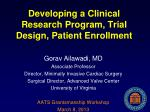 developing a clinical research program trial design patient enrollment