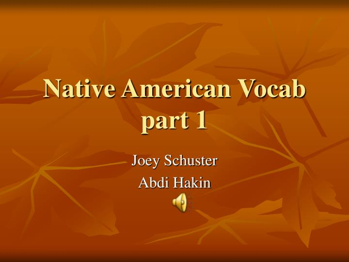 native american vocab part 1 n.