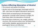 factors affecting absorption of alcohol