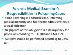 forensic medical examiner s responsibilities in poisoning cases