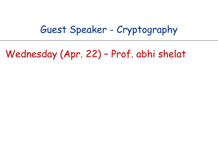 guest speaker cryptography n.