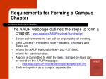 requirements for forming a campus chapter