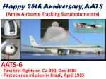 happy 25th anniversary aats ames airborne tracking sunphotometers