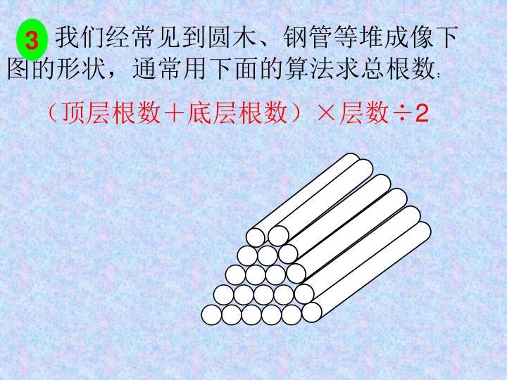 我们经常见到圆木、钢管等堆成像下图的形状,通常用下面的算法求总根数