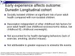 early experience affects outcome dunedin longitudinal cohort