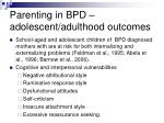 parenting in bpd adolescent adulthood outcomes