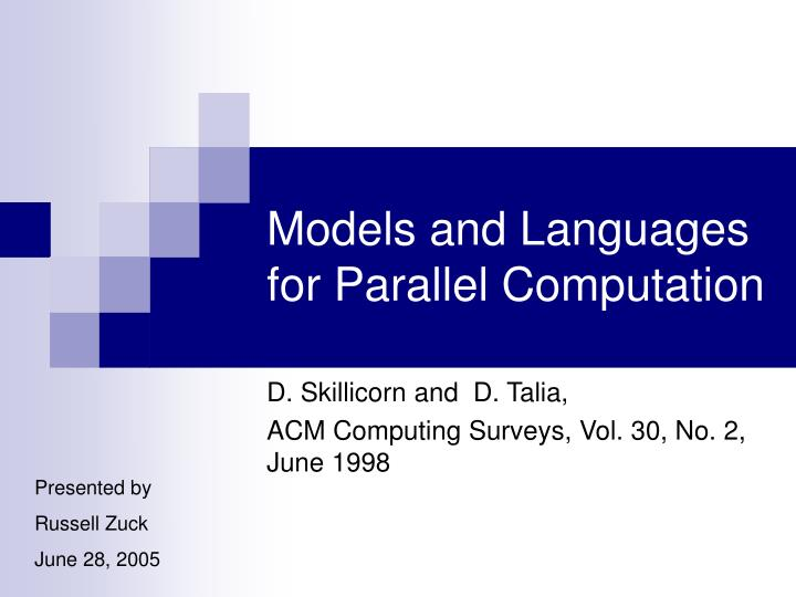 models and languages for parallel computation n.