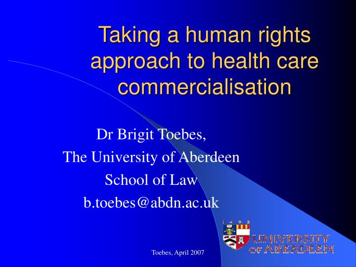 taking a human rights approach to health care commercialisation n.
