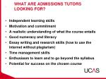 what are admissions tutors looking for