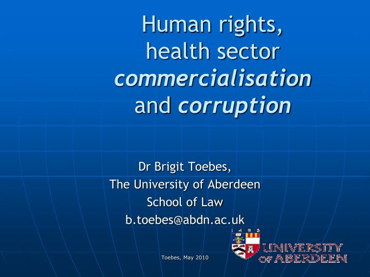 human rights health sector commercialisation and corruption n.