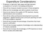 expenditure considerations