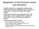 negotiation of performance levels and sanctions