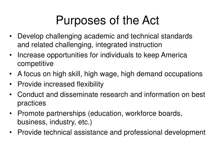 purposes of the act n.