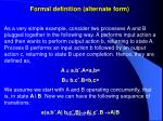 formal definition alternate form