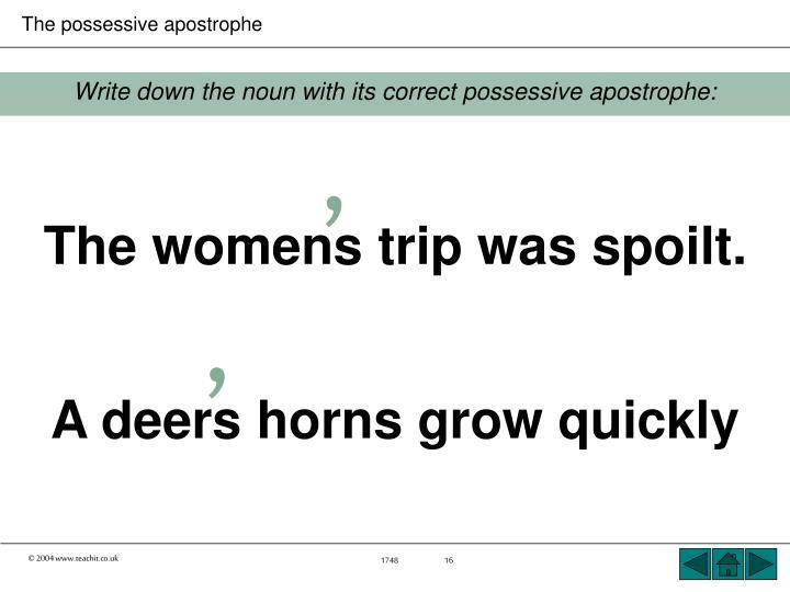 Write down the noun with its correct possessive apostrophe: