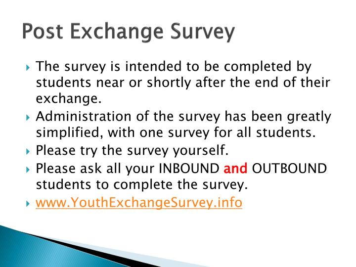 Post Exchange Survey