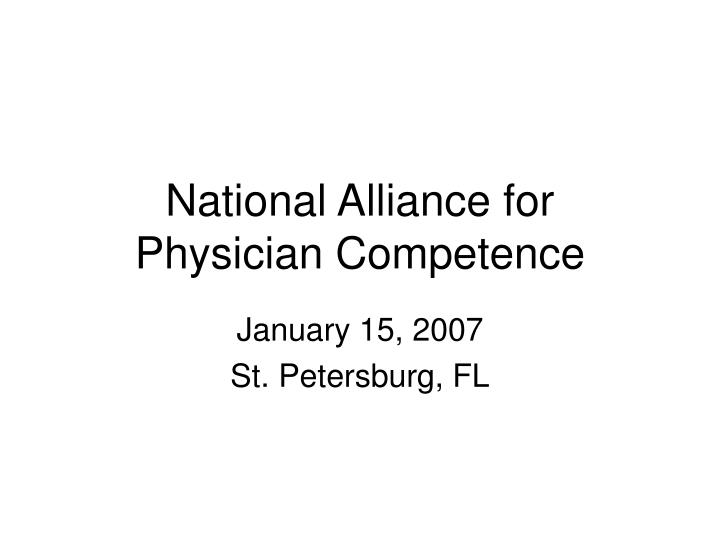 national alliance for physician competence n.