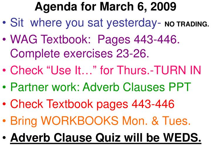 agenda for march 6 2009 n.
