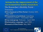 actions for the improvement of the environment for mobile researchers1