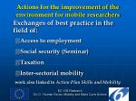 actions for the improvement of the environment for mobile researchers5