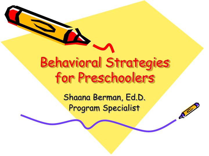 behavioral strategies for preschoolers n.