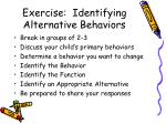 exercise identifying alternative behaviors