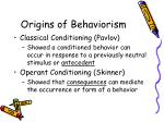 origins of behaviorism