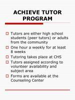 achieve tutor program