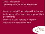 clinical prevention optimizing care for those who need it