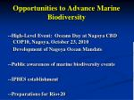 opportunities to advance marine biodiversity