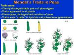 mendel s traits in peas