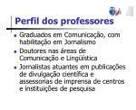 perfil dos professores