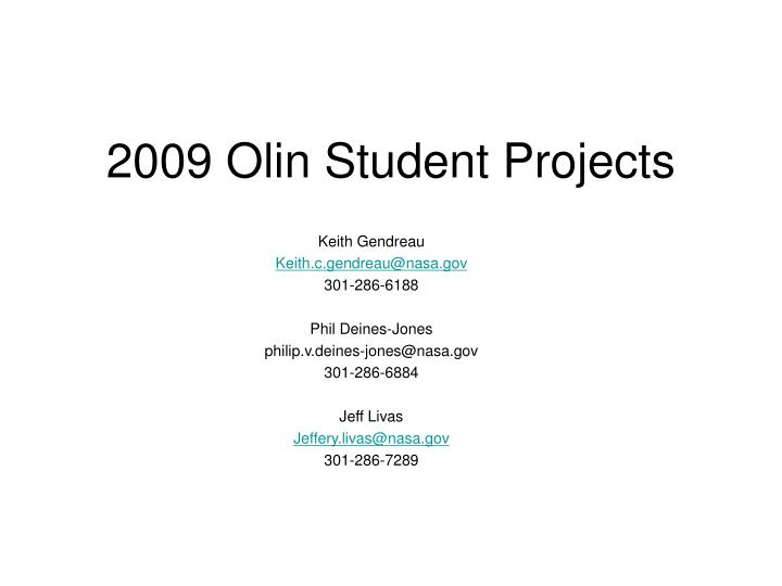 2009 olin student projects n.