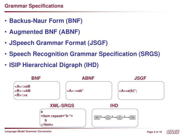 Grammar Specifications