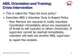 abil orientation and training crisis intervention