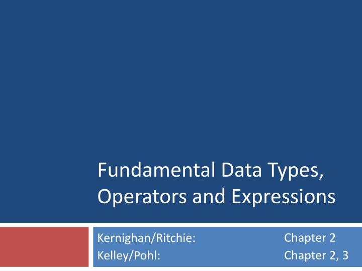 fundamental data types operators and expressions n.