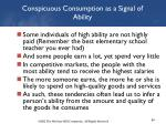 conspicuous consumption as a signal of ability