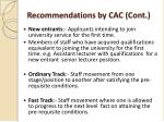 recommendations by cac cont
