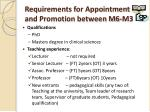requirements for appointment and promotion between m6 m3