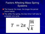 factors affecting mass spring systems