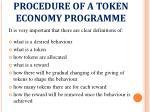 procedure of a token economy programme