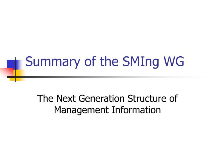 summary of the sming wg n.