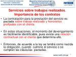 servicios sobre trabajos realizados importancia de los contratos