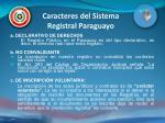 caracteres del sistema registral paraguayo