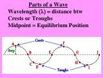 parts of a wave wavelength l distance btw crests or troughs midpoint equilibrium position