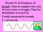 period t frequency f