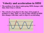 velocity and acceleration in shm