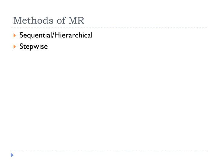 Methods of MR